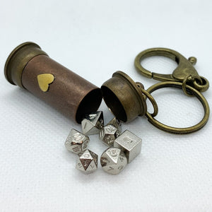 Steampunk Heart Vial with Metal Micro Polyhedral Dice Set