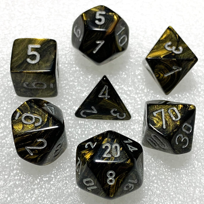 Leaf Black Gold Polyhedral RPG Dice Set