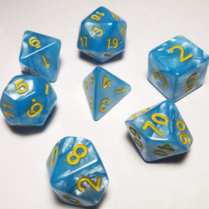 Light Blue Pearl Polyhedral RPG Dice Set