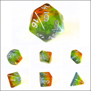 Red Yellow Blue Transparent Rainbow Layered Dice Bulk Pieces