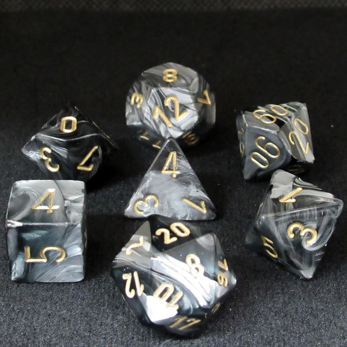Lustrous Black Polyhedral RPG Dice Set