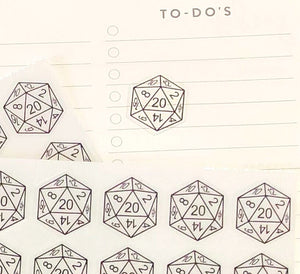 Mini Transparent d20 Stickers