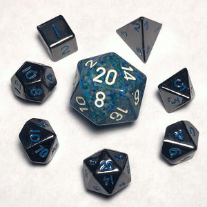 10mm Gloss Black With Blue Numbers Polyhedral Mini Metal Dice Set