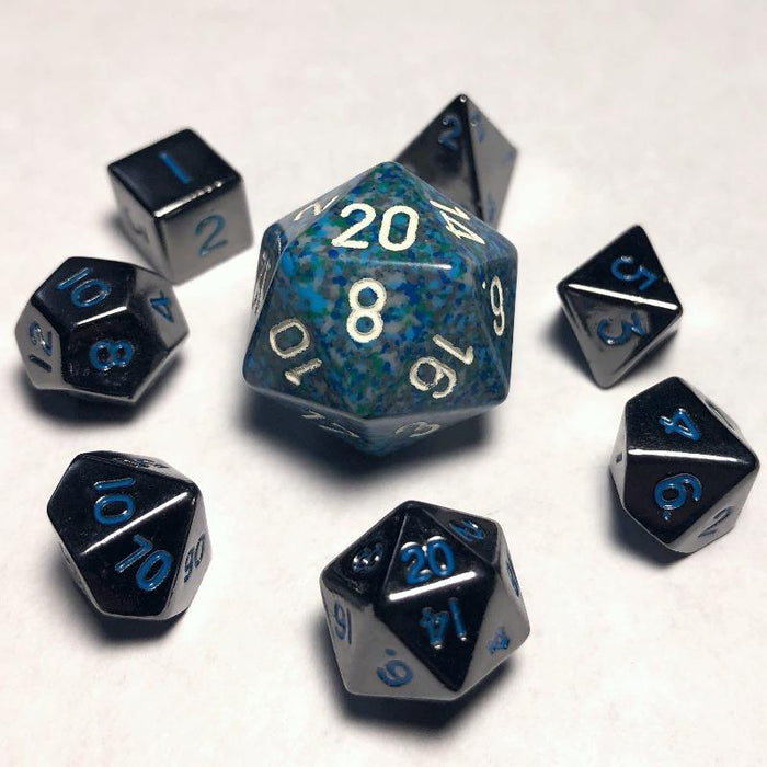Mini Metal 10mm Gloss Black With Blue Polyhedral Dice Set
