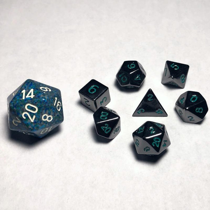 10mm Gloss Black With Green Numbers Polyhedral RPG Dice Set