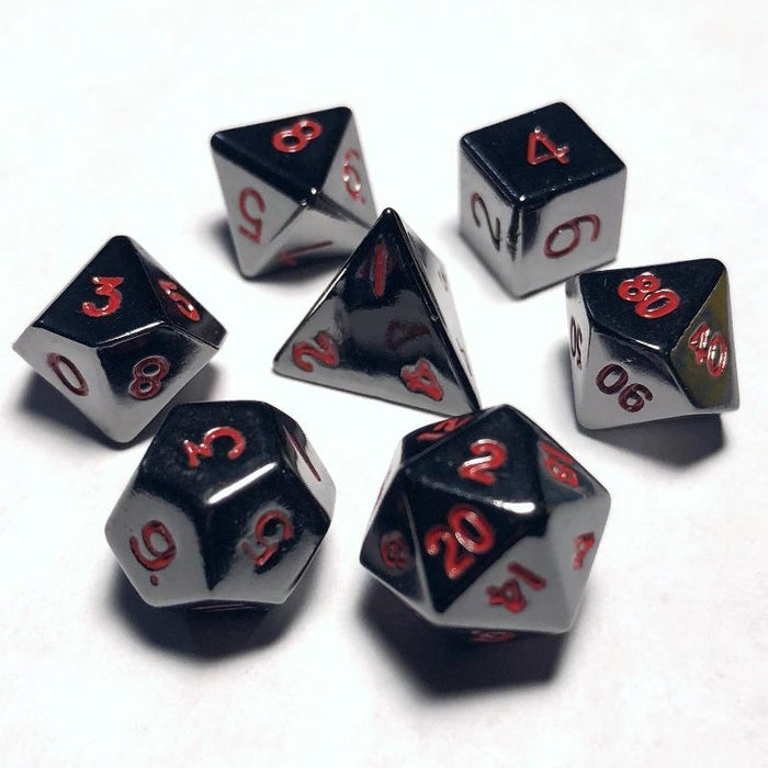 10mm Gloss Black With Red Numbers Polyhedral RPG Dice Set