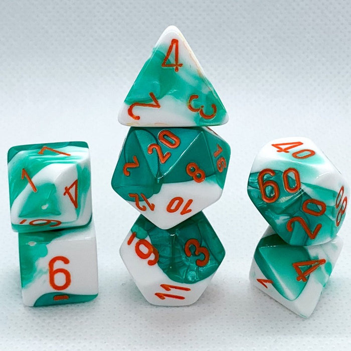 Gemini Mint Green-White Polyhedral RPG Dice Set