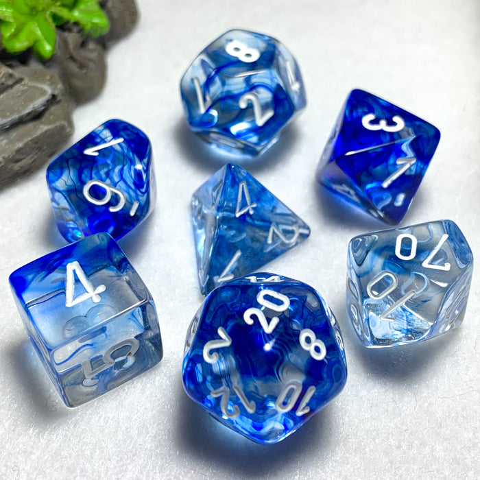 Nebula Dark Blue Polyhedral RPG Dice Set