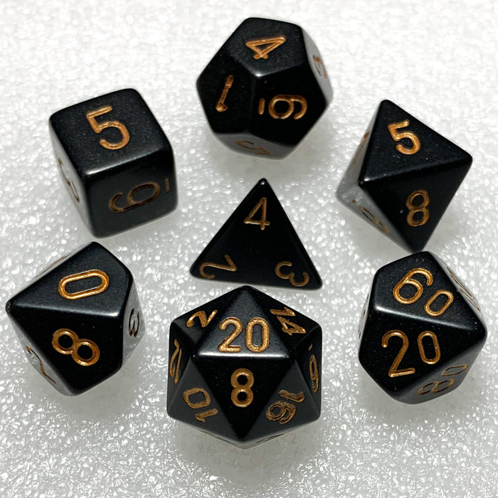 Opaque Black with Gold Polyhedral RPG Dice Set