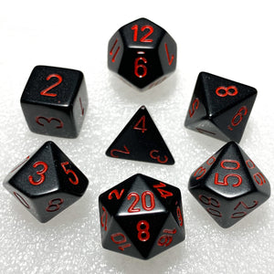 Opaque Black with Red Polyhedral RPG Dice Set