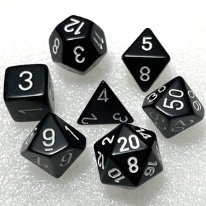 Opaque Black with White Polyhedral RPG Dice Set