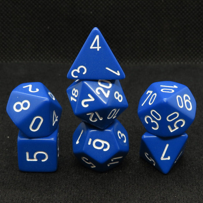 Opaque Blue Polyhedral RPG Dice Set