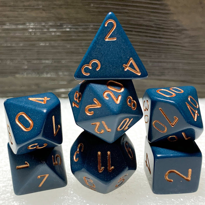 Opaque Dusty Blue Polyhedral RPG Dice Set