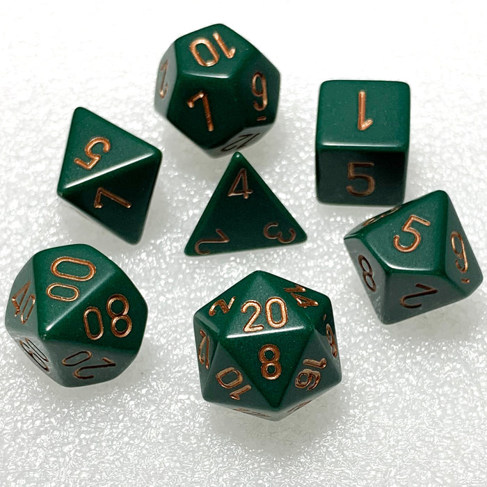 Opaque Dusty Green Polyhedral RPG Dice Set