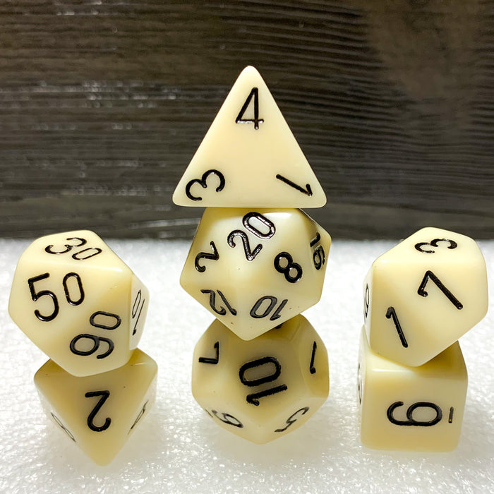 Opaque Ivory Polyhedral RPG Dice Set
