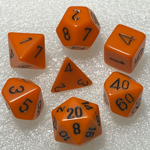 Opaque Orange Polyhedral RPG Dice Set