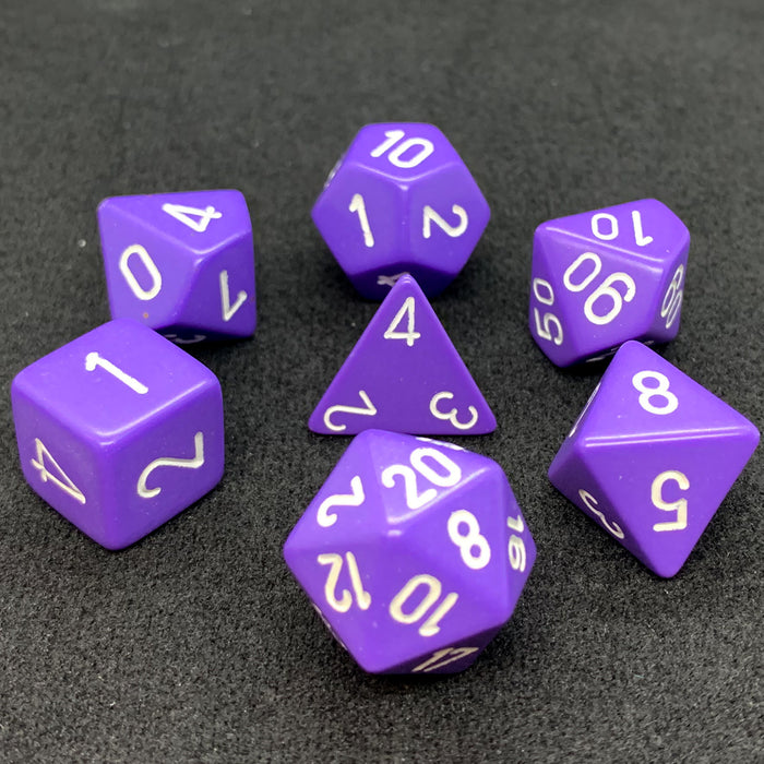 Opaque Purple Polyhedral RPG Dice Set