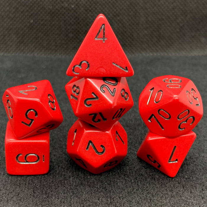 Opaque Red with Black Polyhedral RPG Dice Set