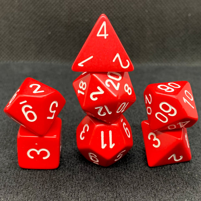 Opaque Red with White Polyhedral RPG Dice Set