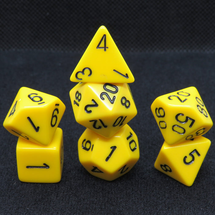 Opaque Yellow with Black Polyhedral RPG Dice Set