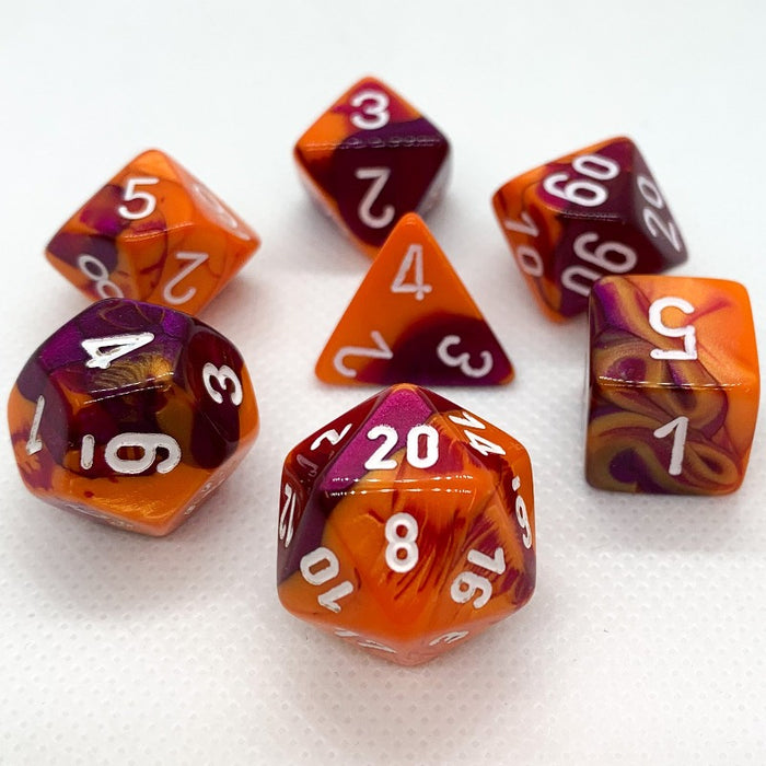 Gemini Orange-Purple Polyhedral RPG Dice Set