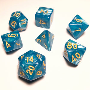 Blue Pearl Polyhedral RPG Dice Set