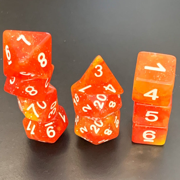 Extended Phoenix Fire Polyhedral RPG Dice Set