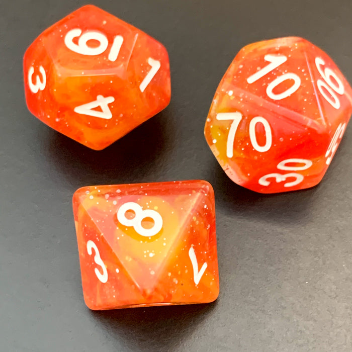 Phoenix Fire Polyhedral RPG Dice Set