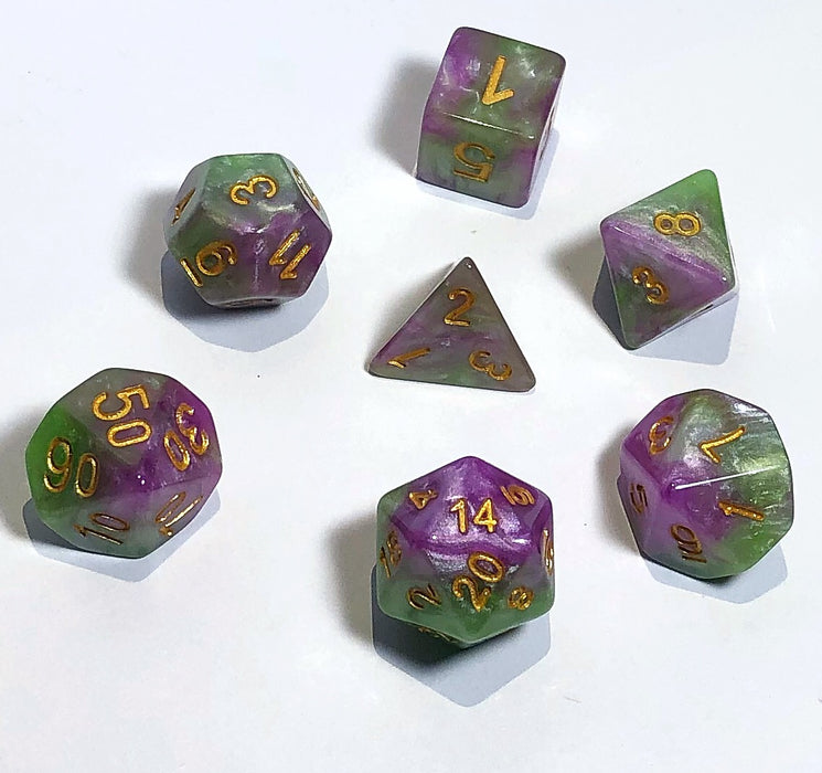 Pink and Green Marble Polyhedral RPG Dice Set