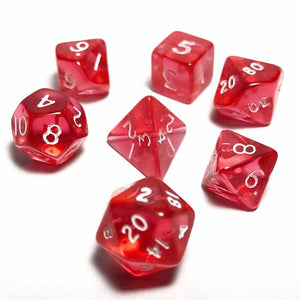 Translucent Pink 10mm Polyhedral RPG Dice Set