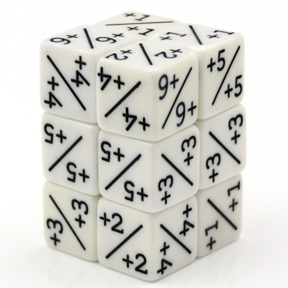 White Positive D6 Counter Dice