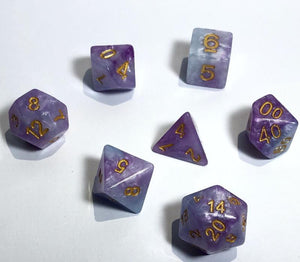 Blue and Purple Cloud Swirl Polyhedral RPG Dice Set