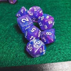 Purple and Blue Galaxy Polyhedral RPG Dice Set