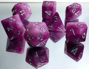 Monochromatic Purple Gradient Polyhedral RPG Dice Set