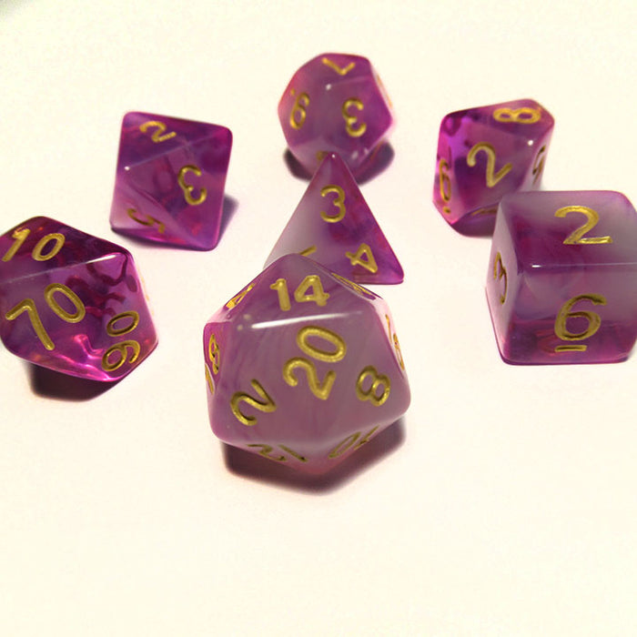 Cloudy Purple Polyhedral RPG Dice Set