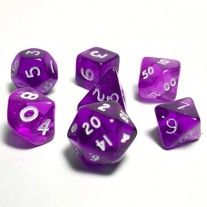 Mini Translucent Purple 10mm Polyhedral RPG Dice Set