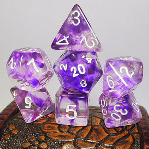 Purple Nebula Swirl Polyhedral RPG Dice Set