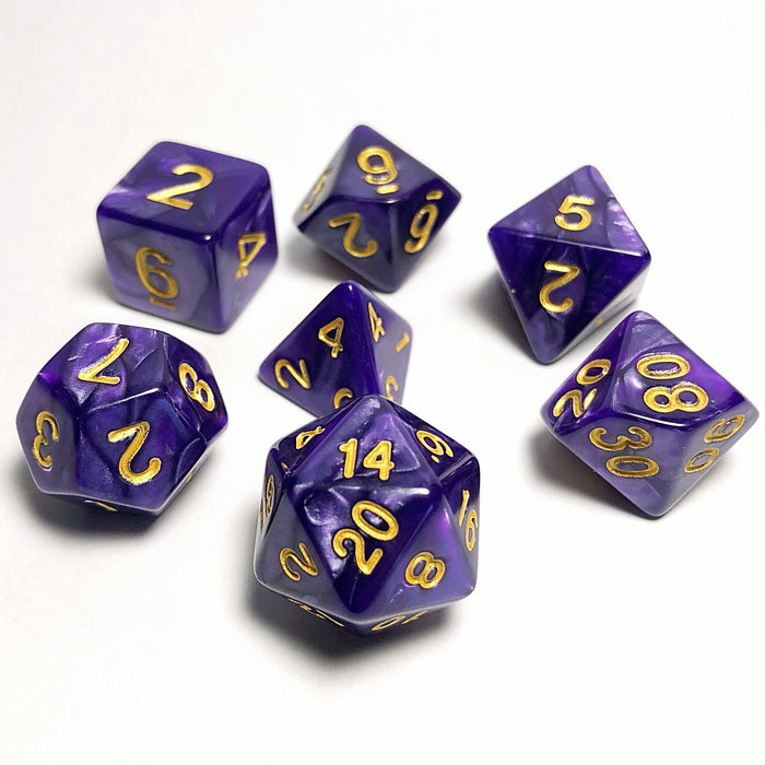 Purple and Gold Pearl RPG Polyhedral Dice Set