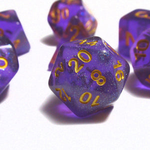 Purple Iridescent Sparkle Polyhedral RPG Dice Set