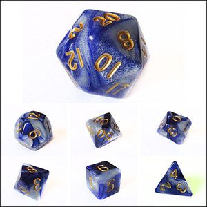 Indigo and White Blend Dice Bulk Pieces