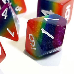 Rainbow Layered Polyhedral RPG Dice Set