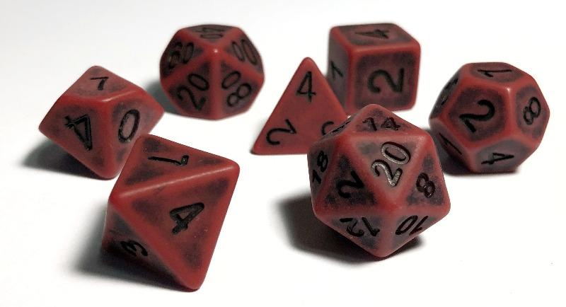 Ancient Red Polyhedral RPG Dice Set