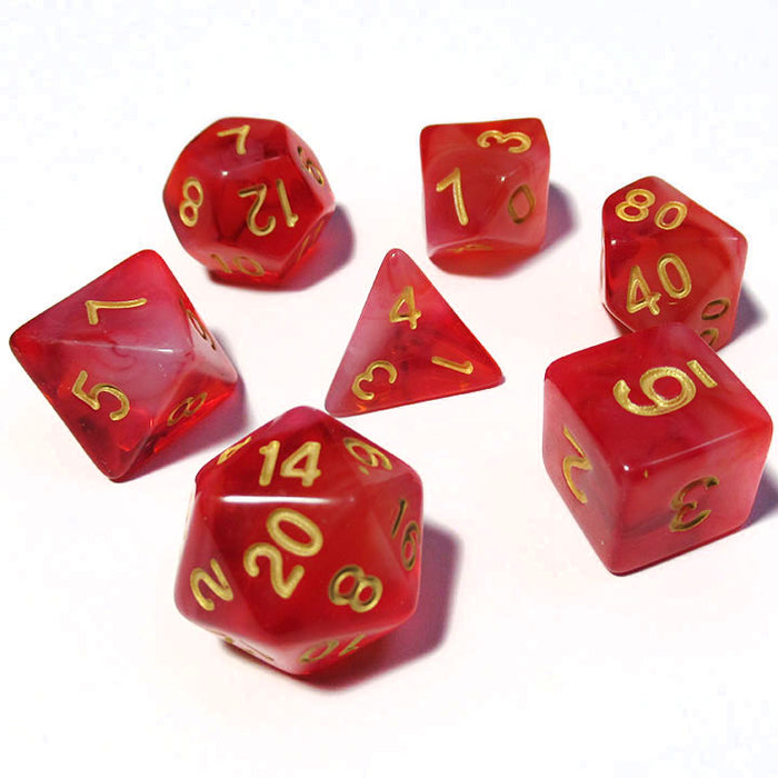 Cloudy Red Polyhedral RPG Dice Set