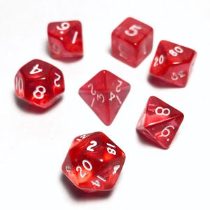 Translucent Red 10mm Polyhedral RPG Dice Set