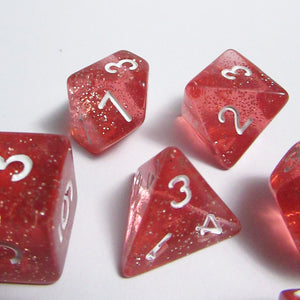 Red Translucent Sparkle Polyhedral RPG Dice Set