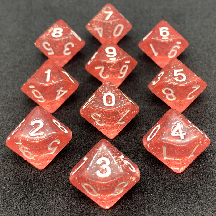 Red Translucent Sparkle D10 Dice Set