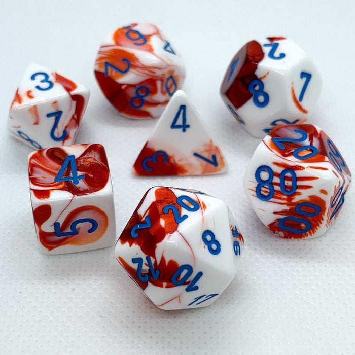 Gemini Red-White Polyhedral RPG Dice Set