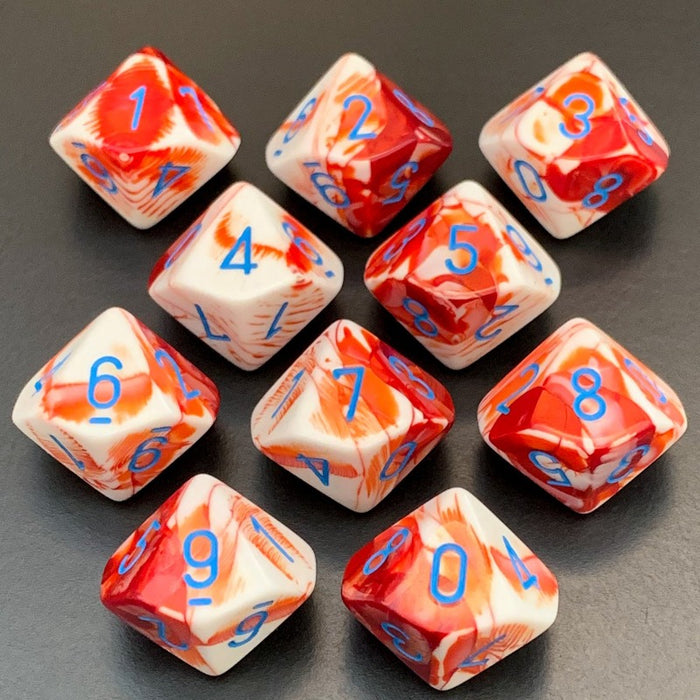 Gemini Red-White D10 Dice Set