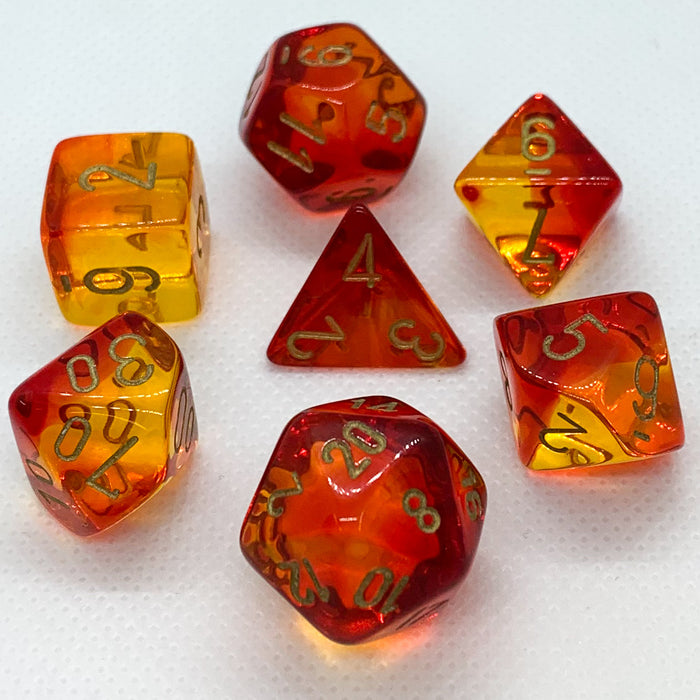 Gemini Translucent Red-Yellow Polyhedral RPG Dice Set