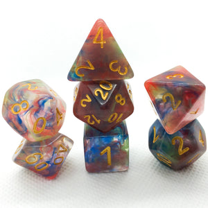 Red Green Blue Nebula Swirl Polyhedral RPG Dice Set